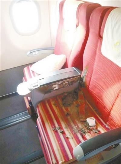 男子飞机上持刀纵火被控制 座椅被烧破机舱舱门被熏黑